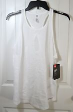 NWT WOMEN'S UNDER ARMOUR WHITE SLEEVELESS ACTIVE ATHLETIC TANK TOP T SHIRT SZ M