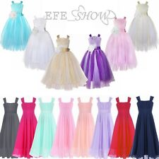 Flower Girl Dresses Summer Chiffon Lace Strap Wedding Party Formal Dress 4-14Yrs