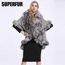 Luxury 100% Knitted Fur Poncho Wool Cape Fashion Real Fox Fur collar Coat P0010