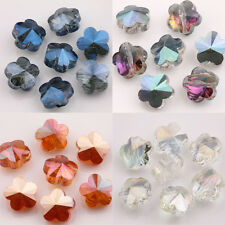10*7mm 15/30Pcs Plum Flower Shape Hole Half AB Crystal Loose Spacer Beads Gifts