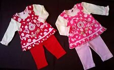 gorgeous baby girls outfit faux pinafore dress + leggings pink / red 0-3 3-6 6-9