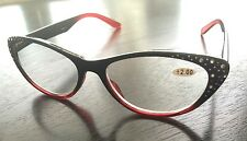 Reading Glasses Red and Black with Crystals Cat Eye 3.00