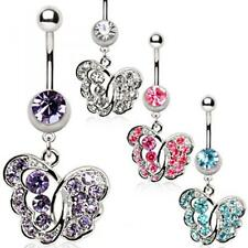 316L Surgical Steel Belly Button Navel Ring with Fancy Butterfly