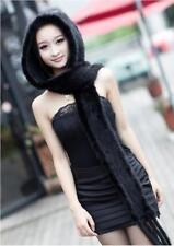 New Genuine Mink Fur Scarf Cape Stole Shawl Wraps Hat Knitted Women Coat S646747