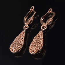 LADY Antique Style Stunning Rose GOLD Plated Filigree Drop Earrings VINTAGE LOOK