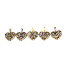 Tibetan Silver Bronze Filigree Heart Charms Pendants DIY Jewelry Making 50 Pcs