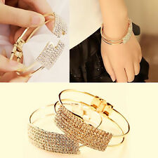 1Pcs Cuff Crystal Gold Silver Plated Jewelry Elegant Bracelet Bangle Women Gift