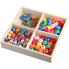 DIY Mixed Colorful Oblate Small Wood Beads Box Bracelet Making For Kid Girft
