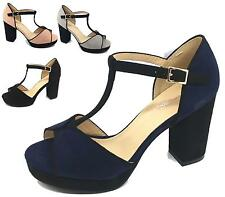 WOMENS LADIES FAUX SUEDE PEEPTOE PLATFORM HIGH BLOCK HEEL SANDALS SHOES SIZE