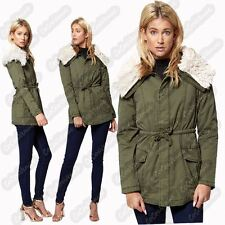 New Ladies Faux Fur Collared Oversize Long Sleeve Zip Up Khaki Parka Coat Jacket