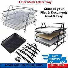 Office Depot Executive Mesh 3 Tier Letter Tray - Black & Silver  (Fast Delivery)