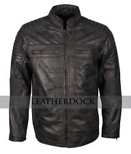 Men Gray Waxed Quilted Cafe Racer Genuine Leather Biker Leather Jacket