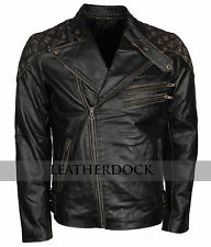 Mens Genuine Leather Riding Skull Distressed Brown Leather Motorcycle Jacket