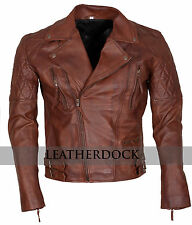 Designer Mens Brown Vintage Biker Classic Diamond Motorcycle Leather Jacket