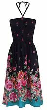Ladies Floral Print 3 in 1 Summer Dress/Maxi Skirt with Border, Navy or White