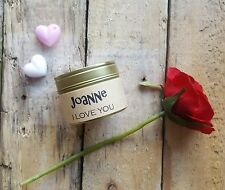 I love you personalised candle - handmade scented soy wax - valentines candle