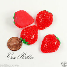 28mm Red Sweet Strawberry Flatback Resin Cabochons - 12/24/50 pieces