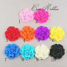 46mm 5/10/20pc Large Faux Rhinestone Flower Rose Flatback Resin Cabochon