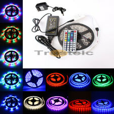 5M 3528 5050 RGB 300 SMD Flexible LED Strip Light +44key Remote+12V Power Supply