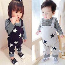 Kids Baby Boy Girl Star T-shirt Top Bib Pants Set Jumpsuit Overall Outfits 0-24M
