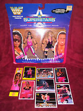 wwf wwe rare Bret Hart Owen Hart action figures with FREE CARDS, and BOOKMARK