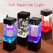 New Jellyfish Volcano Water Aquarium Fish Tank LED Light Lamp Home Room Decor UK