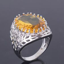 Oval Yellow Topaz Fashion Jewelry 18K White Gold Filled Ring Size M/O/Q/R/T