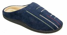 Mens Warm Lined Mule Slippers Navy Blue Coolers