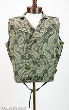 Steampunk Vest Black & Tan Brocade Double Breasted Full Back Victorian Vest