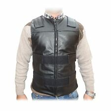 4Fit™ Men's Bullet Proof Style Motorcycle Biker Leather Vest-Black Small to 6XL