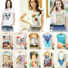 Womens Short Sleeve Graphic Printed T Shirt Tee Blouse Ladies Casual Loose Tops
