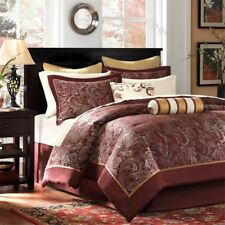 Luxury 12pc Burnt Red & Gold Jacquard Weave Comforter Set AND Sheet Set