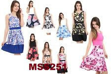 WOMENS LADIES SLEEVELESS FLORAL FLARED SKATER SWING SHIFT SHORT MINI PARTY DRESS