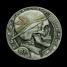 "Hobo Nickel Skull With Yellow And Red Gold By Robert ""Deadman Jeweler"" Morris"