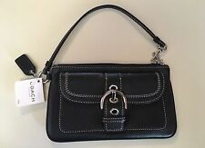 NWT Gorgeous Coach SOHO Large Black Leather Wristlet,Wallet, Cell Phone Case NEW