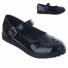 LADIES WOMENS GIRLS MARY JANE LOW FLAT PLATFORM BUCKLE WORK OFFICE SHOES SIZE