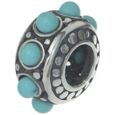 Sterling Silver Synthetic Turquoise Dot stone Bead for European Charm Bracelets
