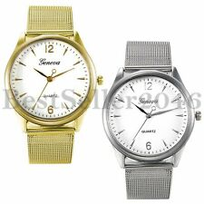 Geneva Fashion Mens Womens Stainless Steel Mesh Sports Quartz Analog Wrist Watch