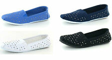 Ladies F8956 slip ON studded canvas shoes by SPOT ON retail