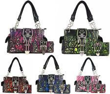 Justin West NEW Western Camo Rhinestone Buckle Conceal Carry Purse Wallet Set