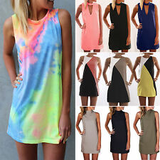 Oversized Womens Boho Mini Shirt Dress Beach Party Sundress Top Casual Clubwear
