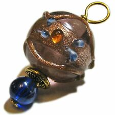 Gorgeous Golden and Blue Glass Bead Pendant By SoniaMcD