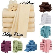 Bathroom Towel Set SPA Shower Soft Cotton Bath Hand Wash Cloth Towels 10 Piece