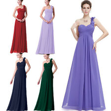 One Shoulder Floral Ruffle Chiffon Evening Ball Formal Gown Bridesmaid Dresses