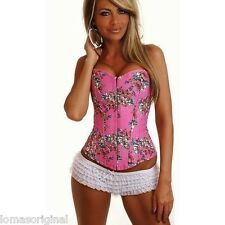 CORSE BODICE BUSTIER ROSA FLOWERS FLORAL SEXY TOP CORSET