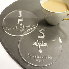 Personalised Coaster Set of 4 | Custom Drinks Coasters, Image Text, Family Gifts