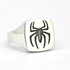 Shiny Finish Solid 925 Sterling Silver Spiderman Signet Ring US Size 4 - 16