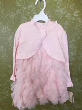 NEW Girl's Beautiful Pink Toddler Dress with Shawl Size 12 - 18 - 24 months