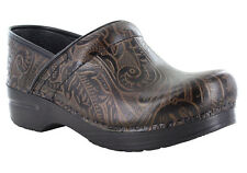Dansko Women's Professional Floral Tooled Brown Leather Clogs