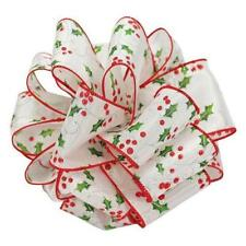 """Ribbon Queen White Satin Holly 2.5"""" 63mm Wire Edge Wired Edged Christmas Ribbon"""
